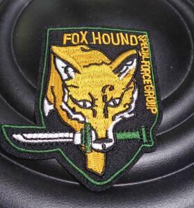圧着◆新品FOXHOUNDフォックスハウンド 特殊部隊アメリカ軍 米軍陸軍  刺繍ワッペン(パッチ)キツネ ナイフ ◇サバゲー・ミリタリー