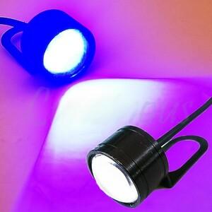 広角照射 LED/ヘッドライト/ポジション 補助ランプ ステー付 青 XL200R XL250R BAJA MTX200R CRF50F CRF125F CRF250R CRF450R 汎用