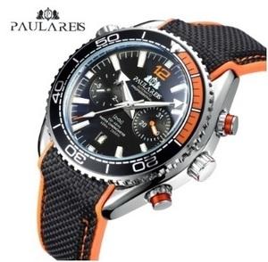 限定 男性 腕時計 自動巻き キャンバスゴム ジェームズボンド007スタイル オレンジブルー 多機能日付月 スポーツ時計