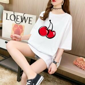 レディース チェリー Tシャツ ホワイト オーバーサイズ KIRSH 韓国1