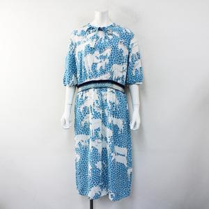 2021SS 伊勢丹限定 mina perhonen ミナペルホネン oasis レーヨンシルクスモッキング刺繍ドレス38/ブルー【2400012430518】