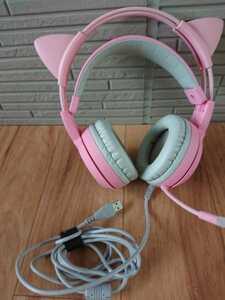 c724 somic ヘッドホン マイク付き ゲーミング ピンク色 猫耳 ゲーミングヘッドセット