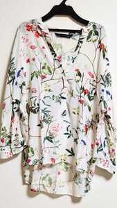 人気完売デザイン ザラ ZARA 花柄 ボタニカル柄 オーバーサイズ プルオーバー ブラウス シャツ XS オフホワイト