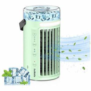 冷風扇 卓上扇風機 ミニエアコンファン ミニクーラー ポータブル 人気グッズ 冷却 加湿 風量3段階切り替え USB給電 ライト付き(新品)