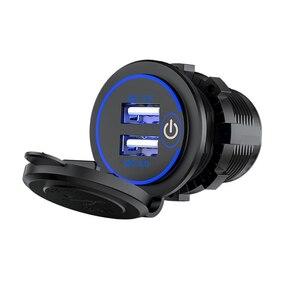 新品 12V-24V デュアルUSB ポート シガーライターソケット 充電器 LED デジタル電圧計 モニター New 青 バイク アクセサリー パーツ