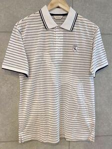 近年モデル! adabat アダバット ポロシャツ ビッグロゴ 半袖 ボーダー 白 48サイズ メンズ ゴルフウエア (A23)