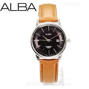 【新品ブランド時計】送料無料 正規品 SEIKOセイコーALBAアルバレディースウォッチ腕時計アナログクォーツ黒×銀 茶レザーベルト AH7N09X1