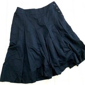 F @ 日本製 '都会のカジュアルウェア' MARGARET HOWELL マーガレットハウエル 膝丈 コットン×リネン生地 フレアスカート SIZE:2 ボトムス