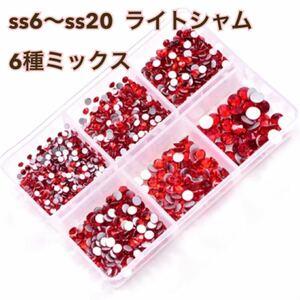 【6種類】ガラスストーン ラインストーン ライトシャム デコ 装飾用