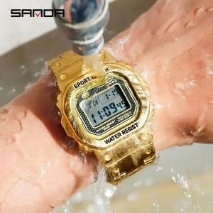 注目★三田スポーツ腕時計 メンズデジタル腕時計 防水カウントダウン ステンレス鋼 ファッション腕時計 男性 時計レロジオ masculino 2020