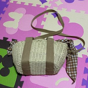 カゴバッグ かごバッグ バッグ ハンドバッグ ローリーズファーム 2wayバッグ