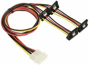 変換名人 ペリフェラル(大4ピン) → SATA(15ピン)電源変換4分岐ケーブル ID(新品未使用品)