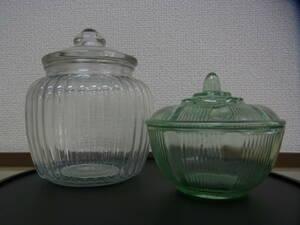 京都8☆昭和レトロ アンティーク 蓋付きガラス製 キャンディーポット コットンポット 2個セット S.G.F 日本製