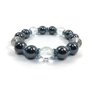 ヘマタイト&水晶 パワーストーン ブレスレット 天然石ブレス(L.ブルー) 12mm 幸運 開運 メンズ 男性