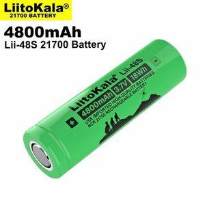 LiitoKala 大容量リチウムイオンバッテリー Lii-48S 21700 3.7V 4800mAh 9.6A フラットトップ リチウムイオン電池 充電池 電子タバコ E292