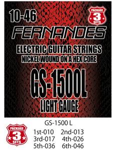 FERNANDES GS1500L フェルナンデス 日本製エレキギター弦 3パック弦 ライトゲージ 010-046 Light Gauge