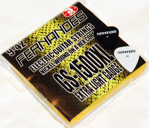 FERNANDES GS1500XL フェルナンデス 日本製エレキギター弦 3パック弦 エクストラライトゲージ 009-042 ピック付き