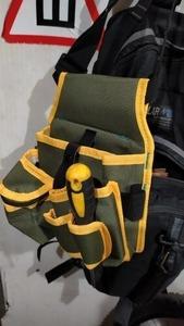 送料無料 新品 キャンバスツールバッグ ベルト付き 工具入れ 工具収納 ツールポーチ ウエストポーチ 道具入れ 屋外作業 DIY グリーン