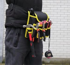 新品 送料無料 工具入れ ウエストツールバッグ 工具差し 腰袋 工具収納 多機能 道具袋 オックスフォード 防水 サイズ調整 DIY 黒黄色迷彩