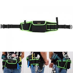 新品 ウエストツールバッグ 工具入れ 工具差し 腰袋 工具収納 多機能 道具袋 オックスフォード 防水 サイズ調整 4穴1ポケット DIY 黒 緑