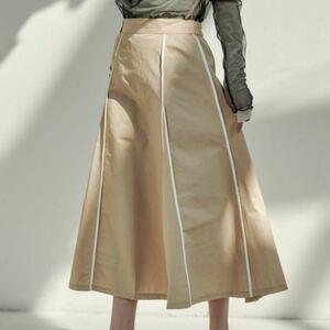 スカート ウェザークロスパイピングデザインフレアスカート/ロングスカート