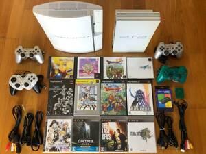 動作品 PS1/2/3ソフトがプレイできるセット PS3(大容量320GB)+PS2(HDMI出力付き)+名作ソフト12本!+コントローラ4個 CECHH00 SCPH-50000