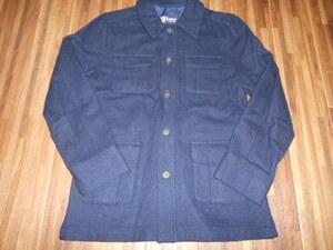 ◆CHILD WOMAN◆ネイビーのウール混厚手シャツジャケット 送料510円 used