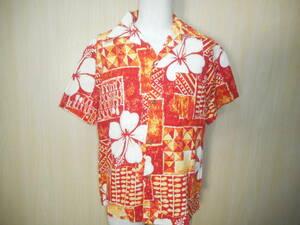 g14◆70's Made in Hawaii 古銭ボタンアロハシャツ◆sizeL ハワイ製 レッドオレンジ 綿100% HAWAIIAN ハワイアン 開襟 オープンカラー 3H
