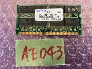 [ sending cat pohs 360 jpy ]Samsung M464S6453EV0-L7A PC133S-333-542 512MB PC133 SDRAM SODIMM