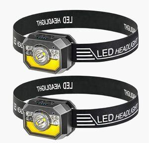 Helius LEDヘッドライト 2個セット 充電式 USB LEDライト