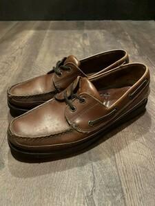 《送料込み》高級靴 G・H BASS バス モカシン デッキシューズ ローファー レザー 革靴 メンズ 9 1/2 27.5cm ドレスシューズ