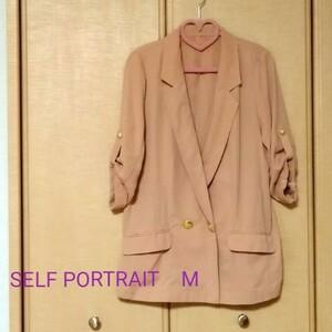 テーラードジャケット シフォン 七分袖 ピンクベージュ くすみピンク レディース