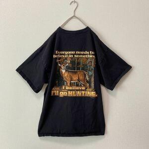 US古着 半袖Tシャツ アニマル柄 鹿 シカ ビッグプリント ビッグシルエット XLサイズ 大きいサイズ バックプリント