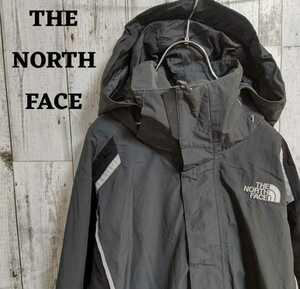 US規格ノースフェイスナイロンジャケットフードハイベント刺繍ロゴブラック(黒)M
