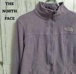 美品 US規格 ノースフェイス フリース ブルゾン 刺繍ロゴ パープル(紫)M