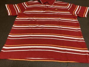 美品NBニューバランス赤、オレンジ、白ボーダー、ロゴオレンジ(刺繍)ポロシャツ サイズL
