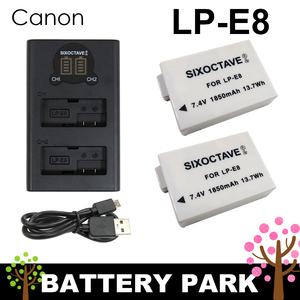 【新品・即決】LP-E8 Canon 互換バッテリー2個と互換LCD充電器 EOS 550D / EOS 600D / EOS 650D / EOS 700D