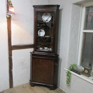 イギリス アンティーク 家具 コーナーキャビネット ディスプレイ ショーケース 飾り棚 収納 木製 英国 CABINET 6076c