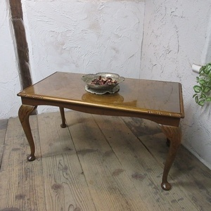 イギリス アンティーク 家具 SALE セール コーヒーテーブル センターテーブル ガラストップ 猫脚 飾り棚 木製 英国 SMALLTABLE 6974b 特価