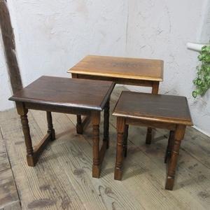 イギリス アンティーク 家具 SALE セール ネストテーブル サイドテーブル 入れ子式 3台組 花台 飾り棚 木製 英国 SMALLTABLE 6783b 特価