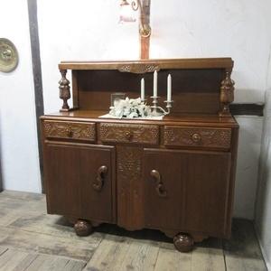 イギリス アンティーク 家具 サイドボード キャビネット 食器棚 飾り棚 収納 木製 オーク 英国 SIDEBOARD 6128c