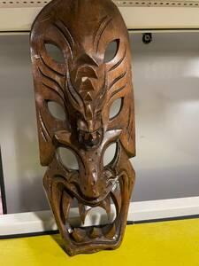 仮面 魔除け 木製 壁掛け 木彫 民芸品 海外 お土産 レトロ 手作り