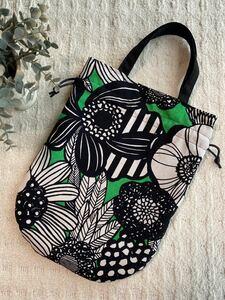ハンドメイド まるい巾着バッグ アートフラワー