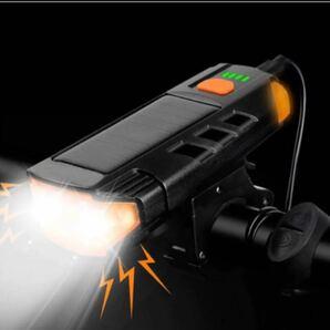 自転車ソーラーライト 自転車ベル付き高輝度 800ルーメン ソーラー充電自転車ヘッドライト USB充電 2600mAhIPX4防水