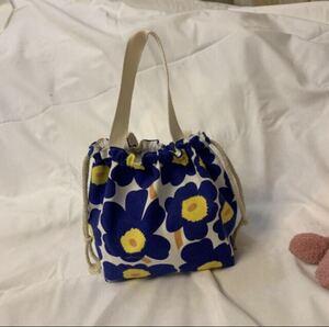巾着袋 花柄 ブルー 可愛い ランチバッグ
