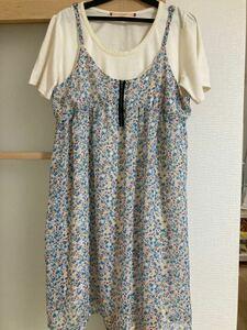 ワンピース 花柄 水色 Tシャツ セット