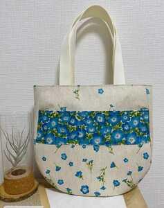 トートバッグ 丸底トートバッグ ハンドメイドバッグ 肩かけバッグ 布バッグ レディースバッグ 花柄 ネモフィラ