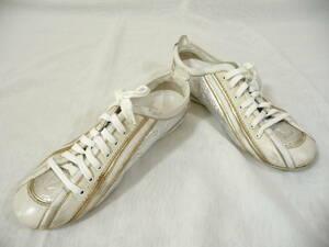 LOUIS VUITTON ルイ ヴィトン シューズ 靴 スニーカー 34 1/2 ホワイトxシルバー モノグラム 29au