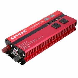 カーパワーインバーター 定格電力2000W 瞬間最大5000W 入力DC12V 出力AC110V 車載充電器 LED USB|1O