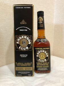【終売品】ANDERSON CLUB 15年 アンダーソン クラブ バーボンウイスキー 箱入 未開栓 古酒 750ml 43%